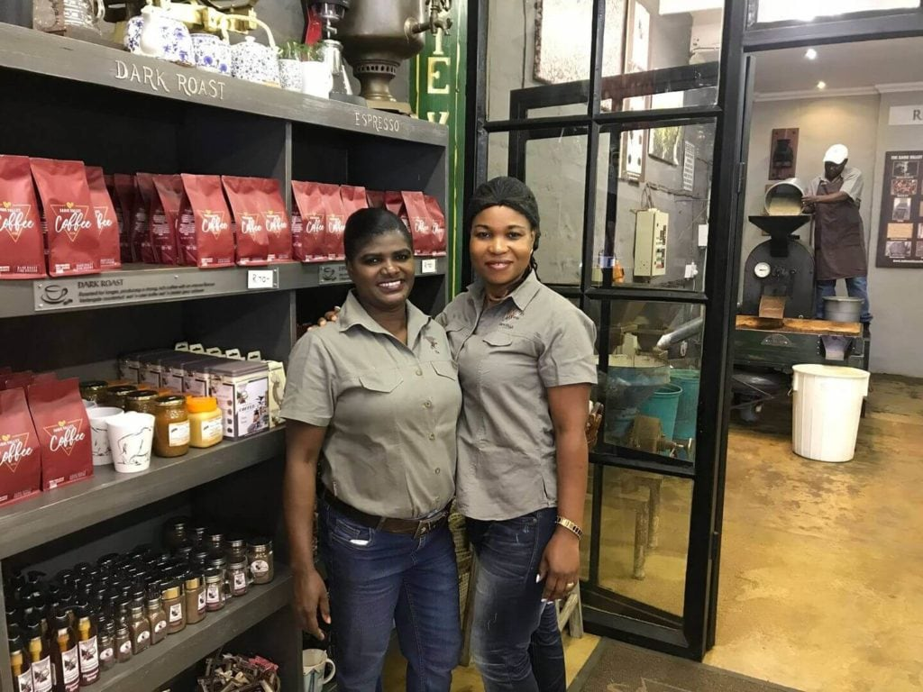 workers at the Sabie Valley Coffee roastery South Africa