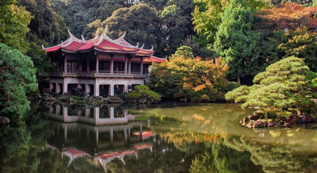 tranquil temple and gardens Japan