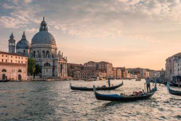 gondolas canal venice st marks basilica italy