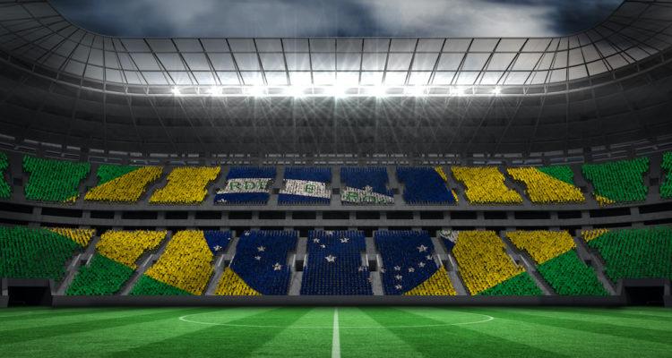 Football stadium with Brazil flag on seats