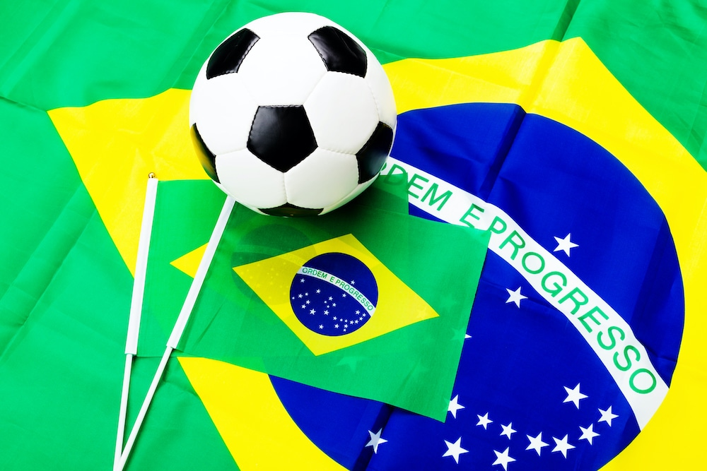Brazilian flags and soccer or football