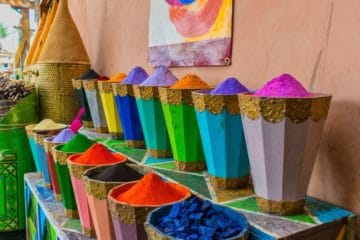 buckets of colourful powders Moroccan culture