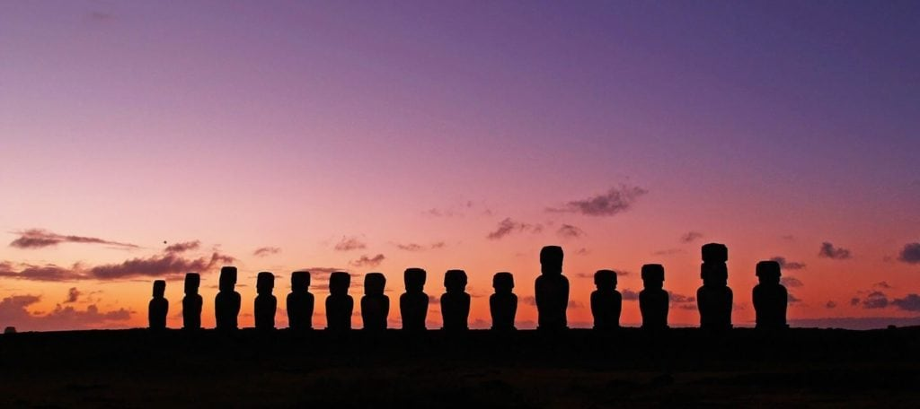 Easter Island moai statues lined up against the sunset Easter Island facts