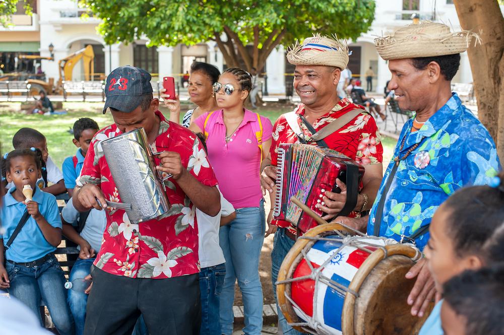 Street musicians in beautiful Santo Domingo, Dominican Republic.