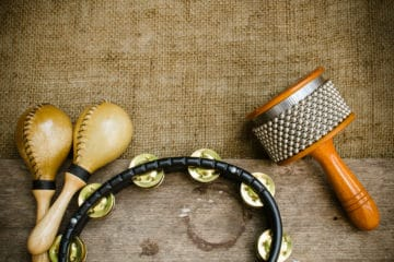 Variety of Latin American percussion instruments.