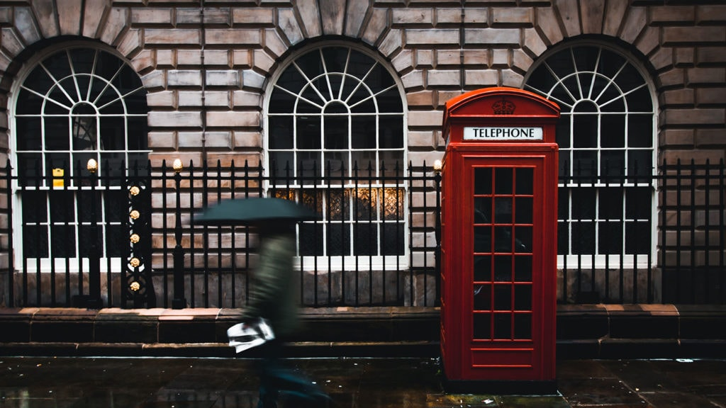 Red phone booth and rainy weather in London