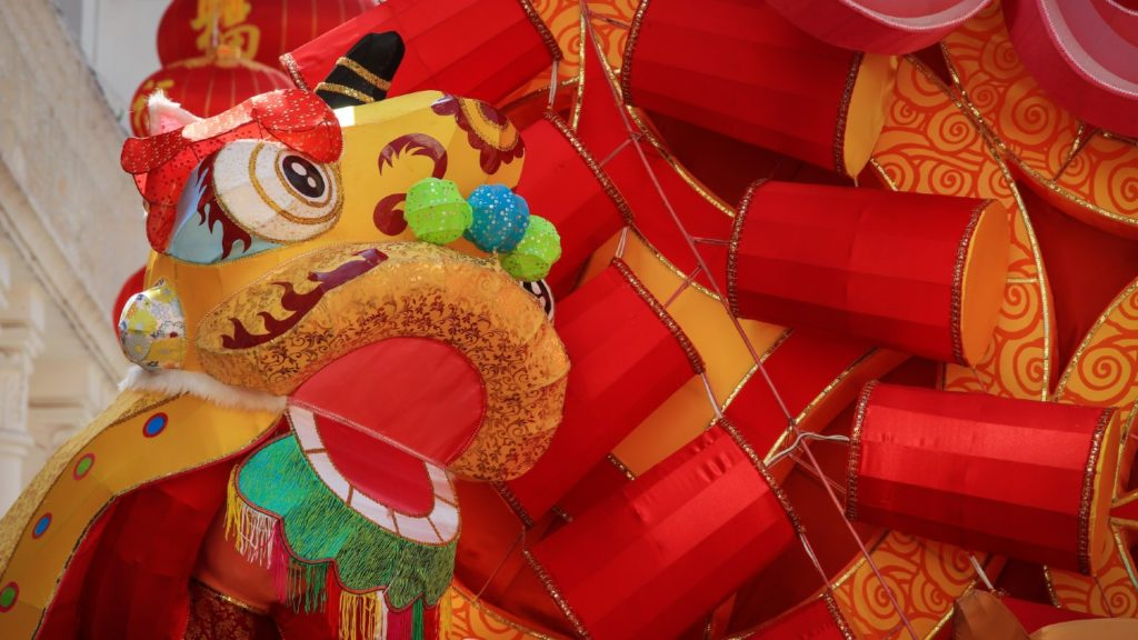 A dragon and lanterns in China to signify Chinese New Year.