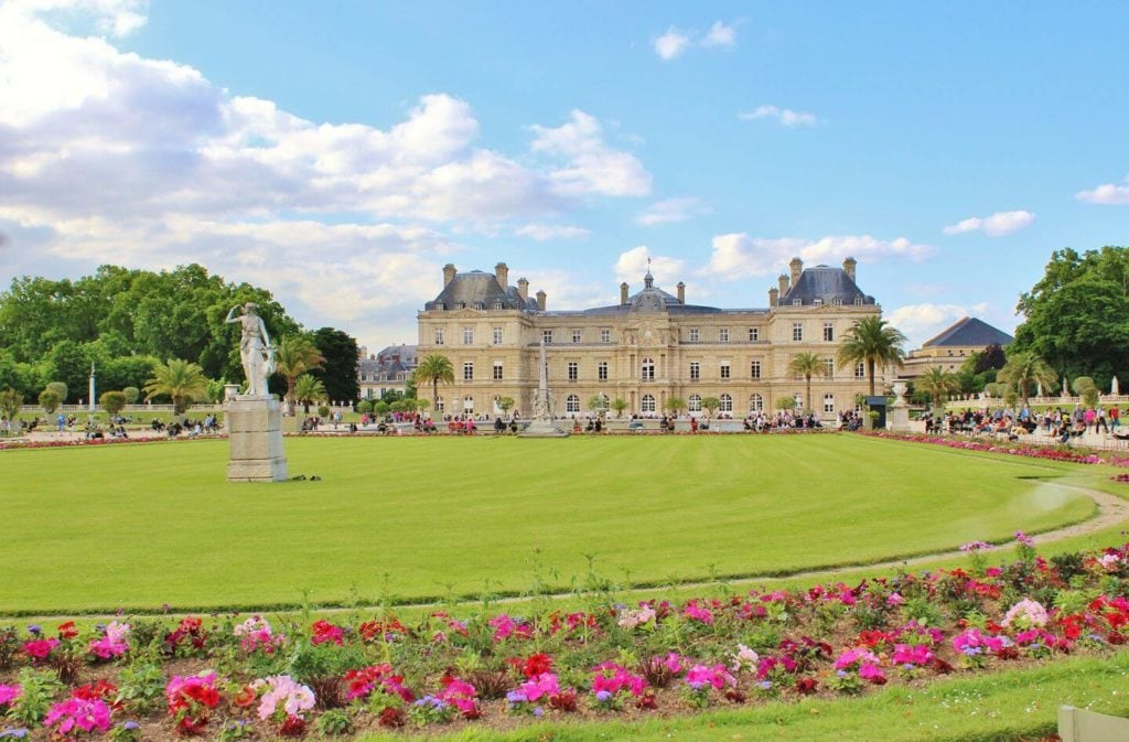 green lawns flowers palace Jardin de Luxembourg Paris France