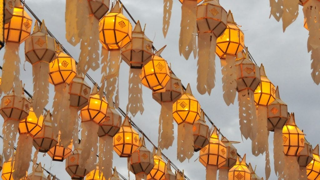Paper lanterns in the sky for Loi Kratong.