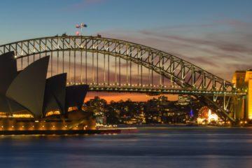 Sydney skyline at dusk.