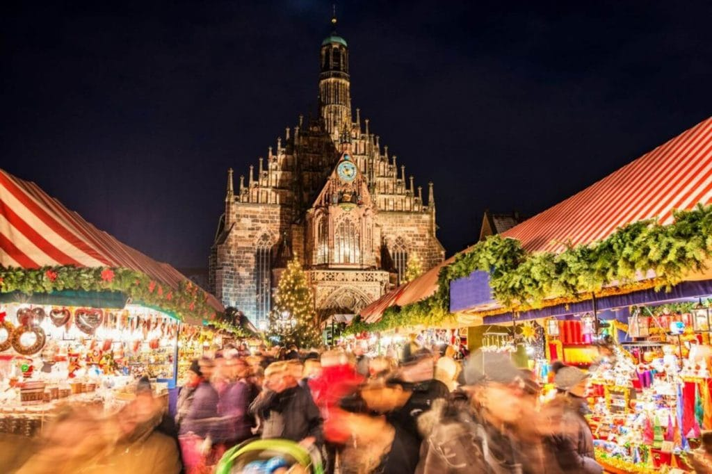 Nuremberg Christmas market stalls historic buildings