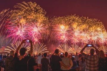 A group of people watching and taking pictures of fireworks in Australia.