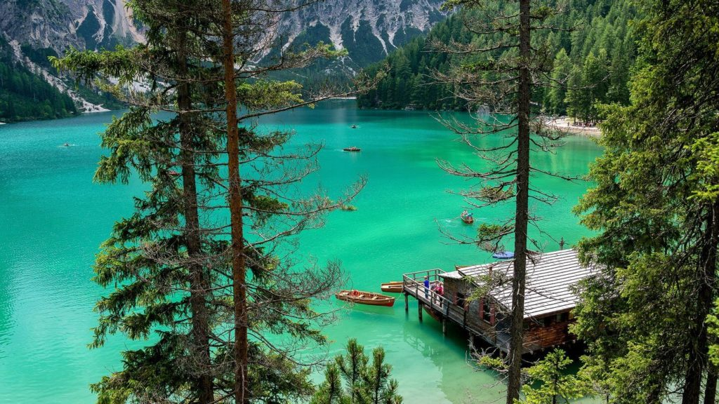 Braies Lake green water forest travelling to Italy