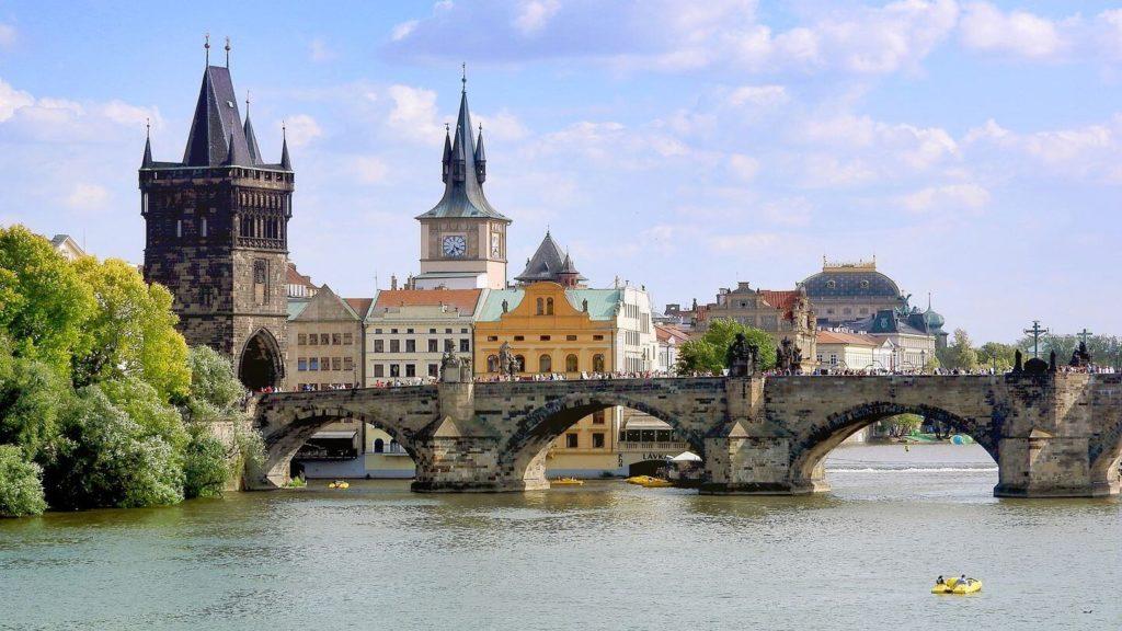 bridge spires Prague Czech Republic