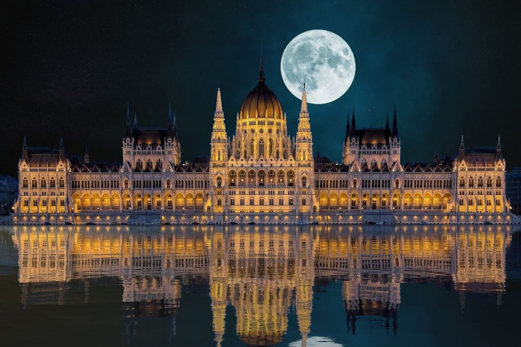 full moon over Hungarian Parliament Budapest