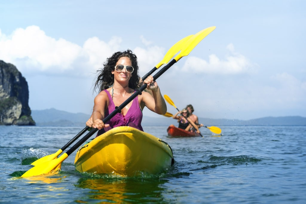 Kayaking amongst the karsts in Thailand