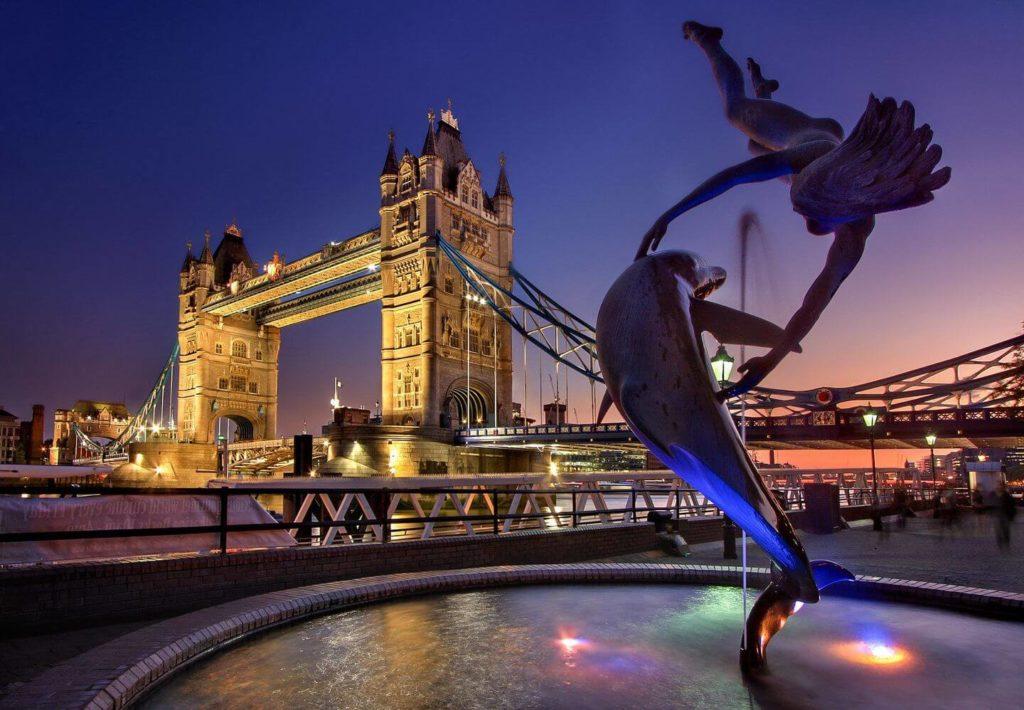 Tower Bridge in London by night