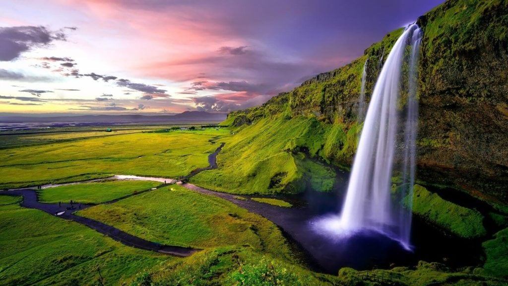 waterfall green landscapes Iceland