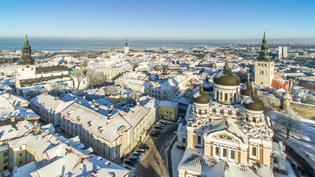 snow covered rooftops Tallinn Estonia