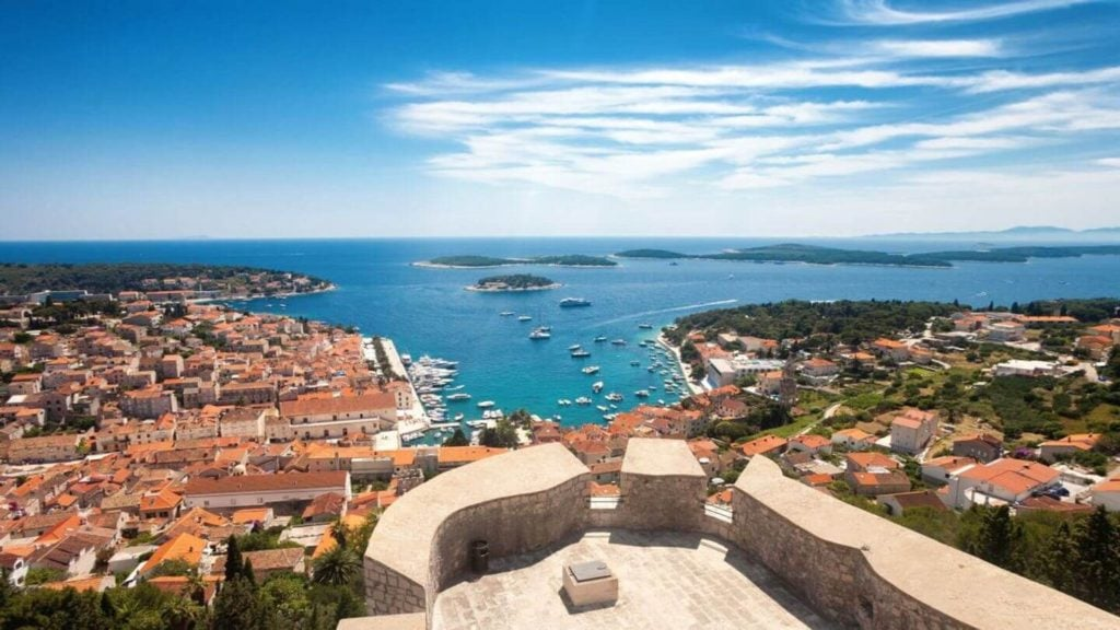 panoramic view over the village and ocean of Hvar Island Croatia
