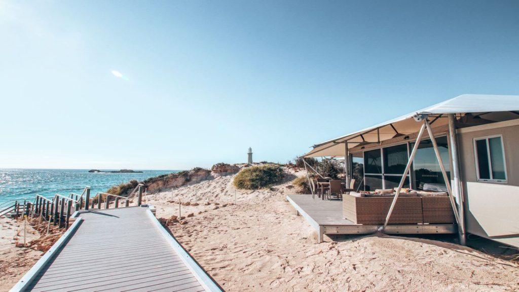 eco-tent sand dunes ocean Rottnest Island Western Australia