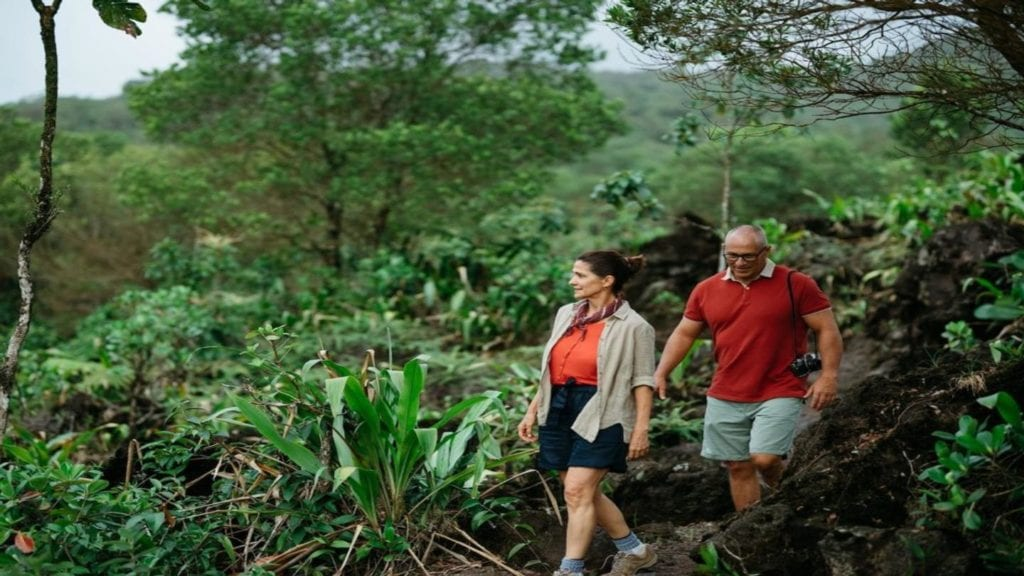 two people walking through the Costa Rican jungle