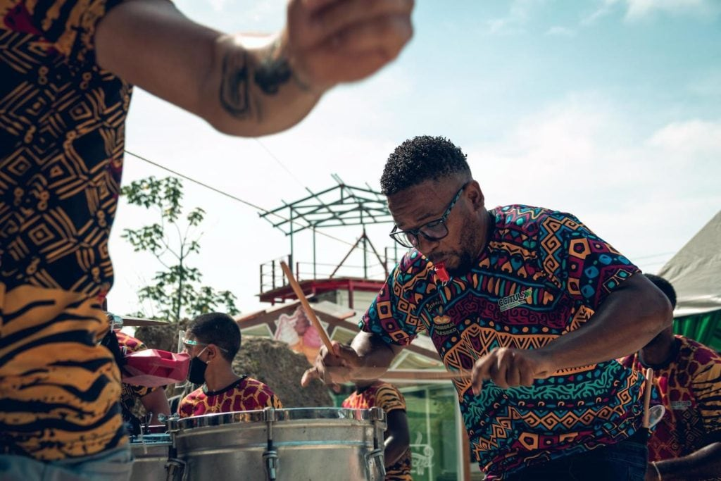 Musicians playing drums at festival in costa rica