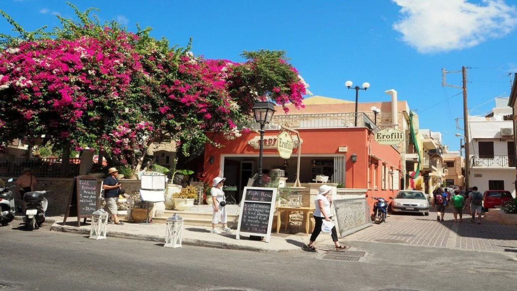 pink flowers quiet streets Crete Easter travel