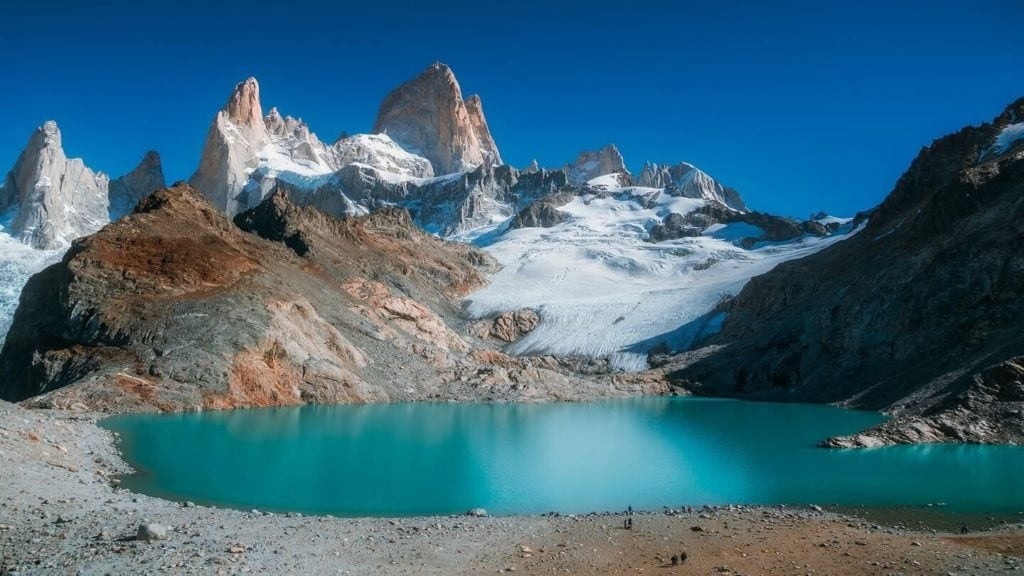 bright blue lake Mount Fitzroy Patagonia