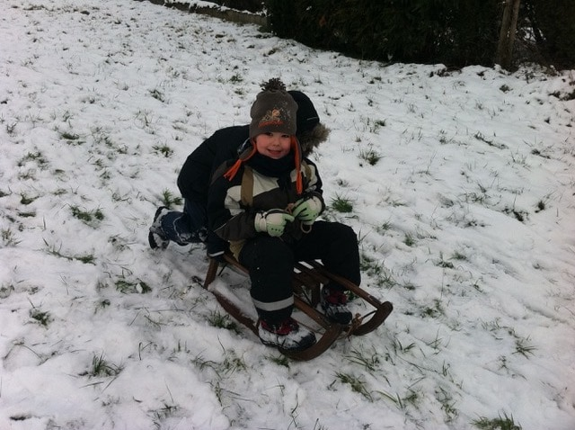 Stephanie's son Lino playing in the snow