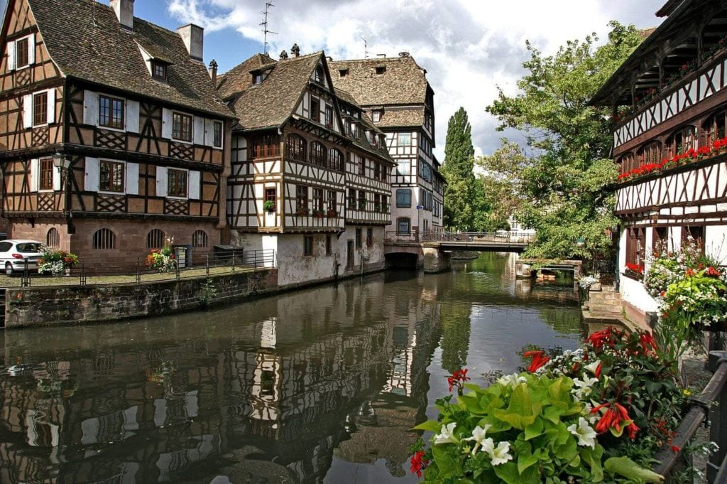 traditional buildings lining the canal Strasbourg France