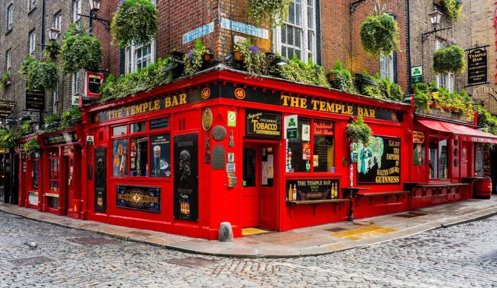 red building cobbled streets Temple Bar Dublin