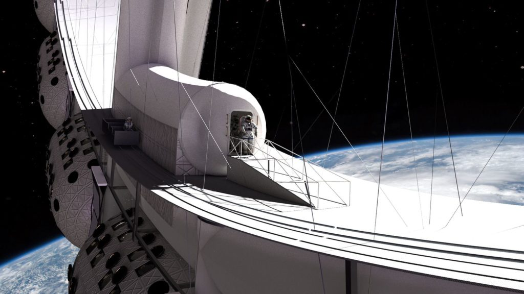 Voyager Station astronaut stepping onto the docking hub