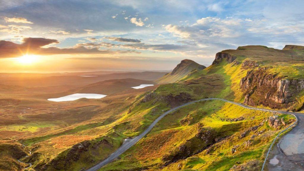 winding roads green mountains Isle of Skye Scotland Highlands