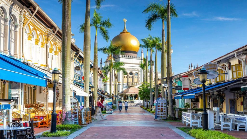 city streets golden mosque dome Singapore