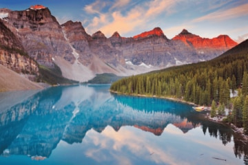 blue lake mountains Banff National Park Canada 2022 travel destinations