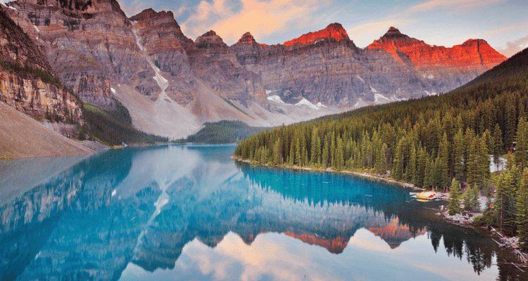blue lake mountains Banff National Park Canada 2022 travel destinations