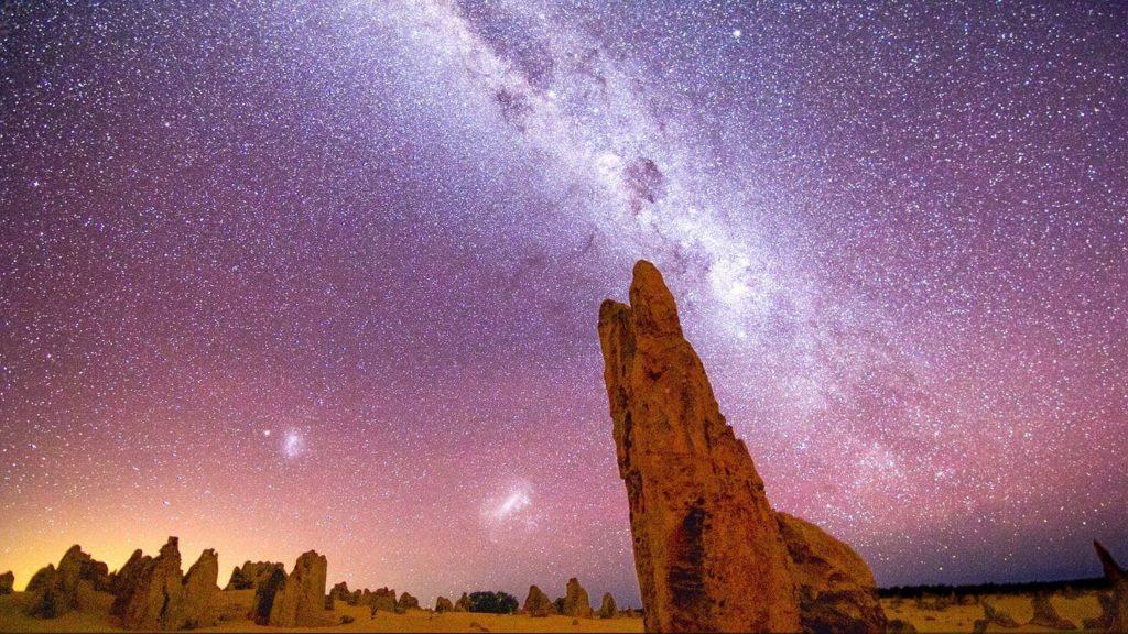 milky way stars lighting up the sky in Australian desert