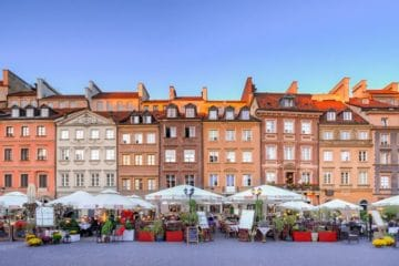colourful facades and markets Warsaw Old Town Poland
