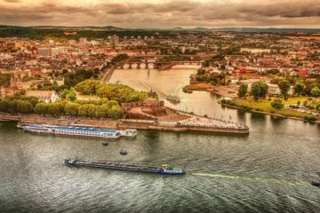 aerial view over the Rhine River