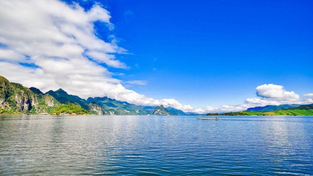 mountains surrounding ocean Con Dao Vietnam
