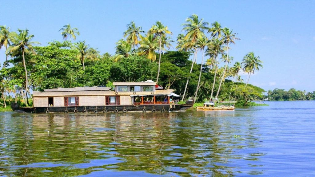 houseboat palm trees Kerala Backwaters India