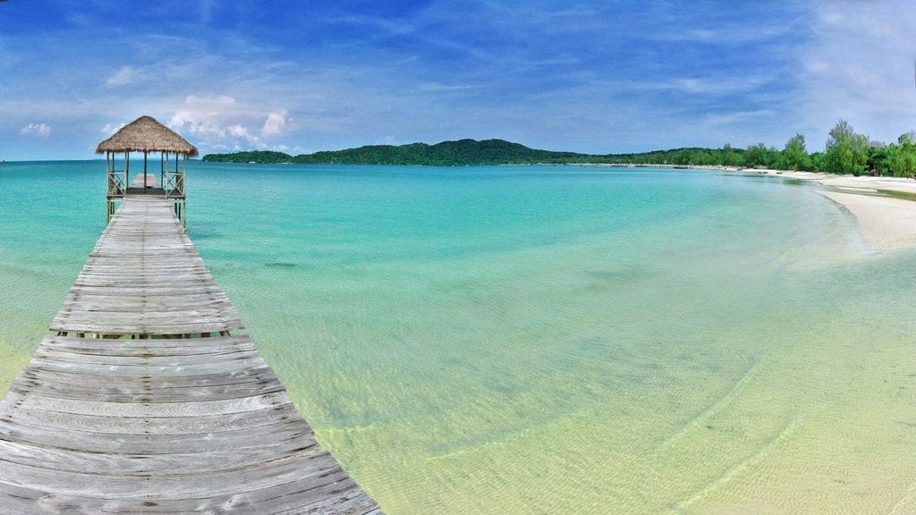 wooden jetty blue ocean Koh Rong Island Cambodia