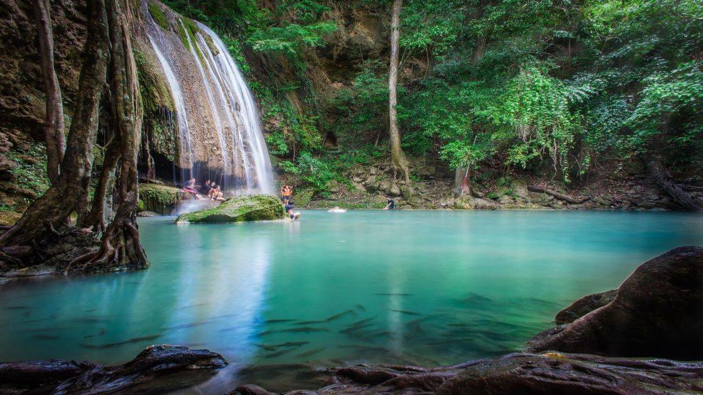 blue waterfall jungle Kanchanaburi Thailand