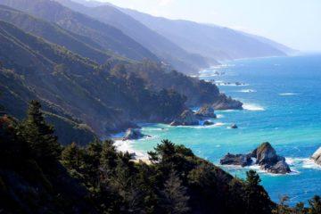 blue ocean forest mountains Big Sur California