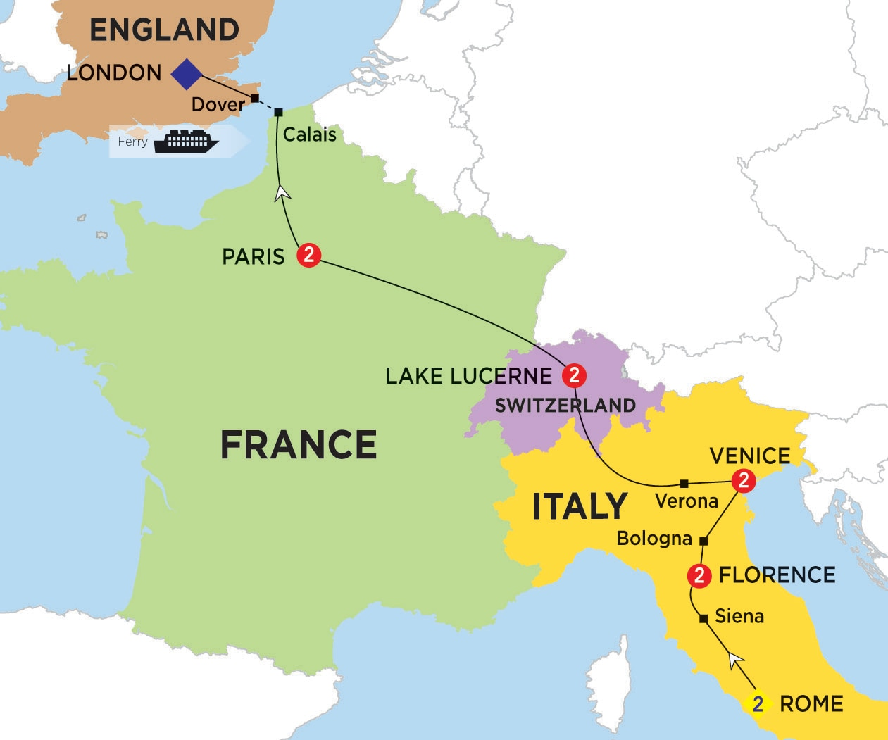 Map Of England France.Europe And Britain Trips Trafalgar Au