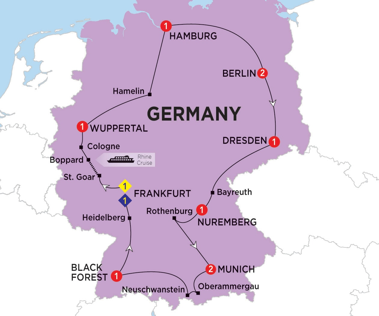 Itinerary map of Highlights of Germany summer 2017