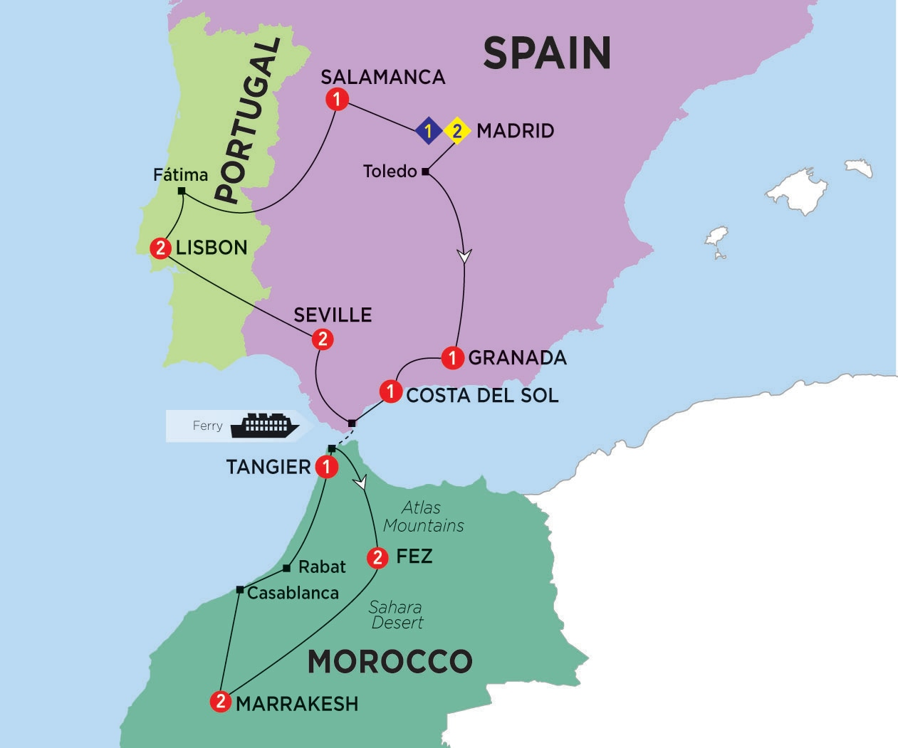 Itinerary map of Highlights of Spain Morocco and Portugal summer 2017>