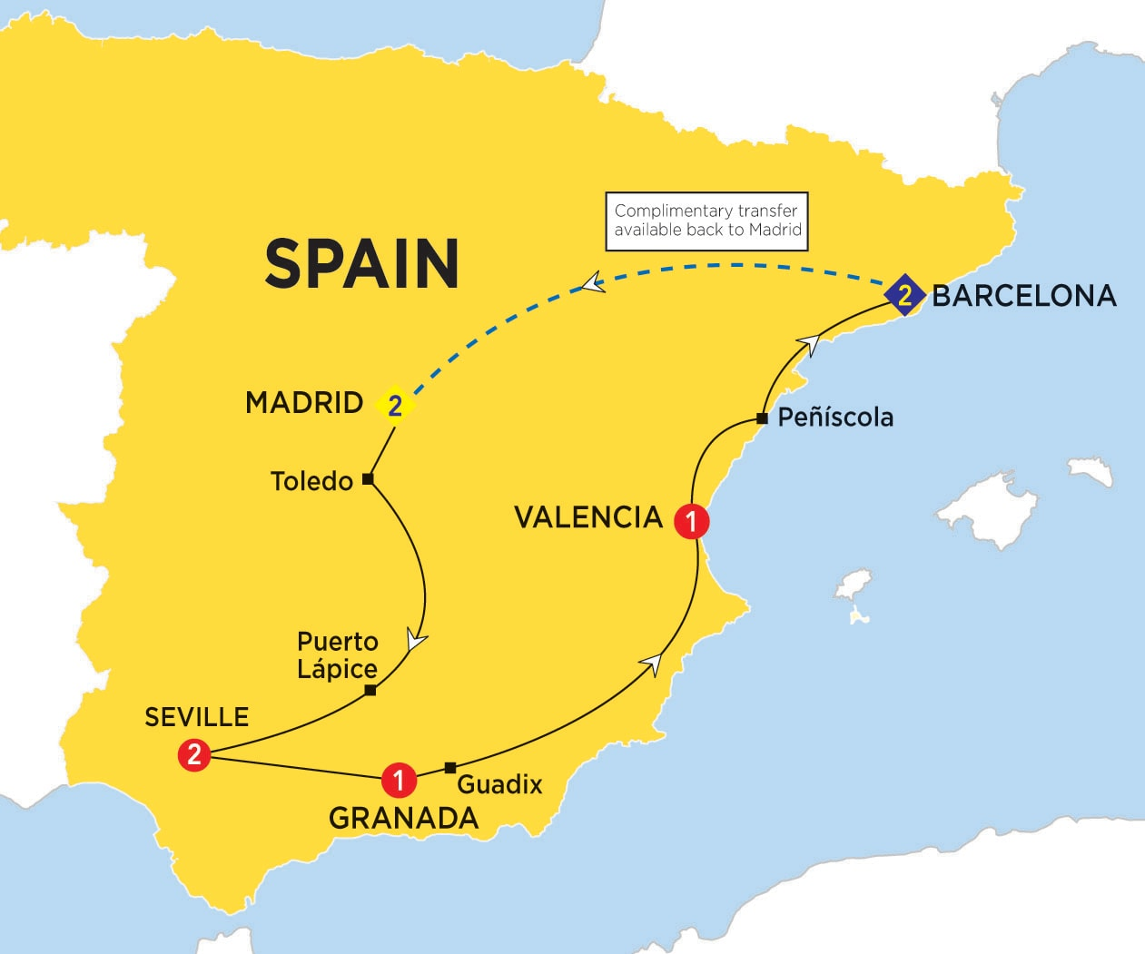 Itinerary map of Spanish Experience summer 2017>
