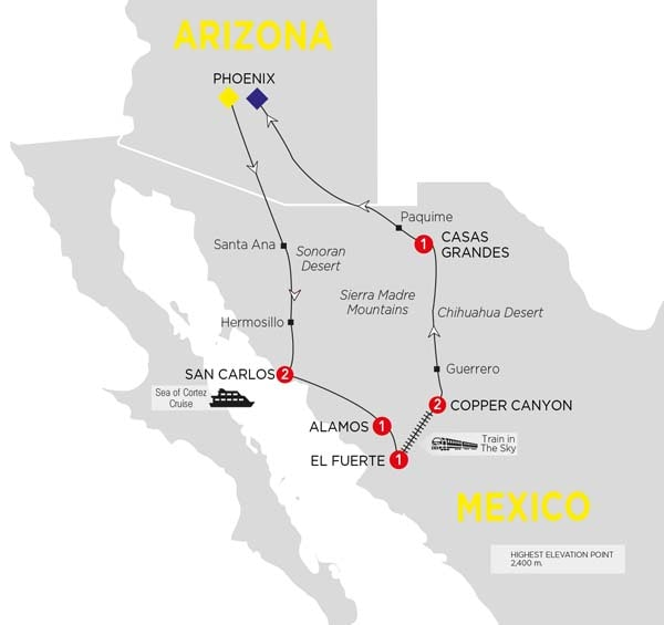 Itinerary map of Mexicos Great Copper Canyon Summer 2017